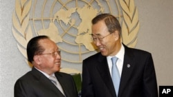 Ban Ki-moon, right, Secretary General of United Nations meets with Hor Namhong, deputy prime minister and foreign minister of Cambodia, left, at United Nations, September 2010.