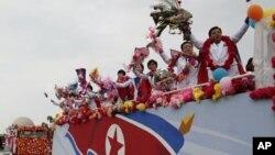 2014 인천아시안게임에서 종합 7위를 달성한 북한 대표팀이 5일 평양에서 시가행진을 벌였다.
