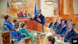 Un bosquejo del triubal donde Paul Manafort, el ex jefe de campaña del presidente Donald Trump, está siendo juzgado por fraude.