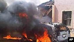 Incêndio de uma viatura armadilhada usado nos ataques da Boko Haram