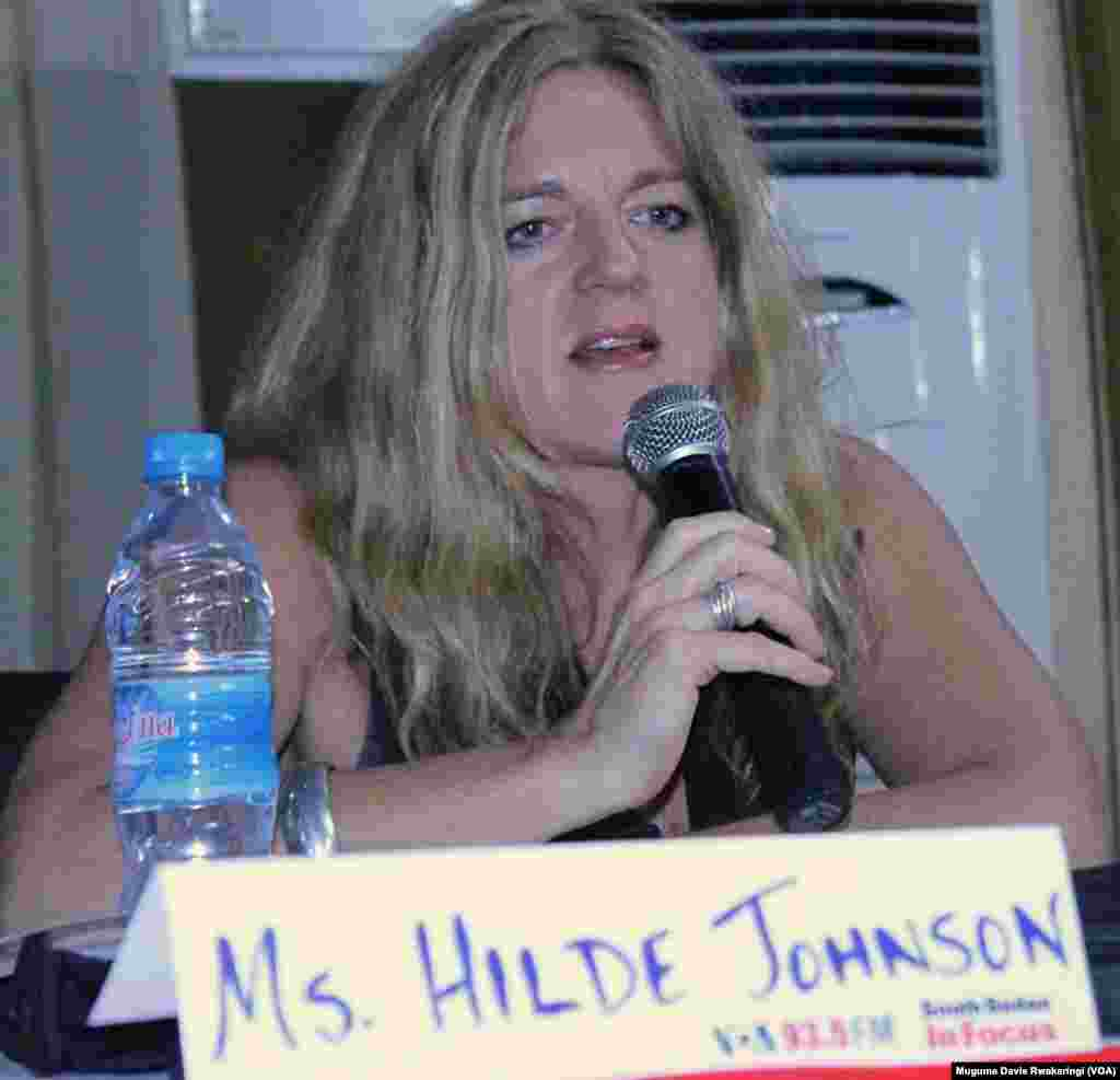 The United Nations' Special Representative for the Republic of South Sudan, Hilde Johnson, speaks at the Voice of America town hall meeting in Juba on Thursday, March 28, 2013.