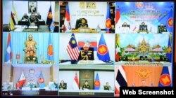 Trưởng đoàn các nước ASEAN tham dự hội nghị tại điểm cầu tại các nước, ngày 24/09/2020. Photo QDND.