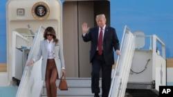 Američki predsjednik Donald Trump i prva dama Melania stižu na aerodrom u Helsinkiju, Finska, July 15, 2018.