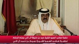 An image grab taken from Qatar TV shows Qatar's Emir Sheikh Hamad bin Khalifa al-Thani delivering a televised speech in Doha, June 25, 2013.