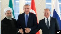 Президенты Ирана, Турции и России на саммите в Анкаре. 16 сентября 2019.