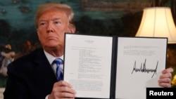 Amri ya kiutendaji ya Rais Donald Trump wa Marekani akitangaza nia yake ya kujiondoa katika mkataba wa nyuklia wa Iran Jumanne, May 9, 2018.