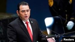 El ex presidente de Guatemala, Jimmy Morales, durante la 74a sesión de la Asamblea General de las Naciones Unidas en la sede de la ONU en la ciudad de Nueva York, Nueva York, Estados Unidos, 25 de septiembre de 2019.
