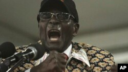 FILE: Zimbabwean President Robert Mugabe is seen delivering a speech to a national congress of his Zanu PF party in Harare Dec. 6, 2014.