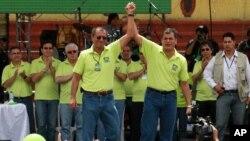 El presidente de Ecuador, Rafael Correa junto a su compañero de plancha, Jorge Glas exministro de coordinación estratégica presentan oficialmente su candidatura a la reelección.