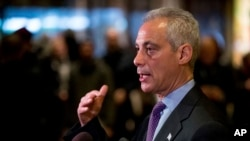 Chicago Mayor Rahm Emanuel speaks with members of the media after meeting with President-elect Donald Trump at Trump Tower in New York, Dec. 7, 2016.