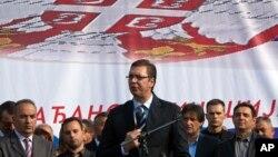 Potpredsednik Vlade Srbije Aleksandar Vučić na mitingu u Gračanici