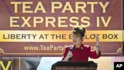 Former Alaska governor Sarah Palin speaks to the crowd during the kickoff of the nationwide Tea Party Express bus tour in Reno, Nevada,18 Oct 2010