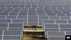 An Indian security guard walks among solar panels at the newly inaugurated solar photovoltaic power plant at Khadoda, in Sabarkantha district, about 90 kilometers (56 miles) from Ahmadabad, India, Friday, June 10, 2011