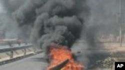 Pneu a arder durante manifestacao em Maputo contra alta dos precos de bens essenciais