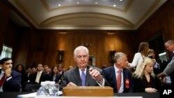 2017年6月13日,美国国务卿蒂勒森在国会山参加听证会。