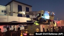 Firefighters respond to a fire at a hospital in Jizan, Saudi Arabia, Dec. 24, 2015.
