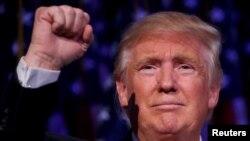 Presiden Terpilih Amerika Serikat, Donald Trump saat melakukan kampanye di Manhattan, New York, 9 November 2016 (REUTERS/Carlo Allegri).