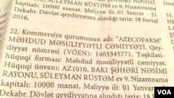 """Mənbə: """"Vergilər"""" qəzeti (""""Azərcofarm"""" MMC-nin həmin qəzetdən götürülən məlumatı)"""