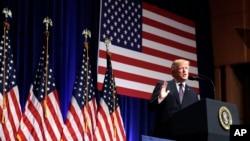 """美國總統川普在國家安全會議上說,他的國家安全戰略就是""""美國第一""""。(2017年12月18日)"""