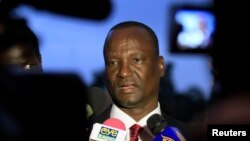 Head of the rebel delegation General Taban Deng Gai, addresses journalists during South Sudan's negotiations in Ethiopia's capital Addis Ababa, Jan. 8, 2014.