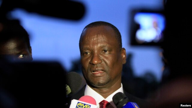 The head of the rebel delegation at peace talks for South Sudan in Addis Ababa, Taban Deng Gai, shown here addressing journalists in January 2014, says the government delegation has not shown up for the talks for the last few days.