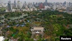 Các căn lều của người biểu tình bên trong công viên Lumpini ở Bangkok, Thái Lan, 1/3/2014