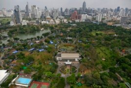 Anti-government protesters' tents are set up inside Bangkok's Lumpini Park, Thailand, March 1, 2014.