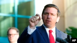 FILE - Florida Gov. Ron DeSantis speaks in Fort Lauderdale, Jan. 11, 2019.