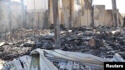 武裝分子2012年6月27日襲擊大馬士革附近的沙特電視台衛星頻道總部後,被損毀的建築物的景象