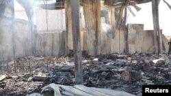 武装分子2012年6月27日对大马士革附近的沙特电视台卫星频道总部发动袭击后,被损毁的建筑物的景象