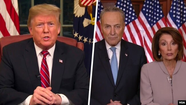 Lãnh đạo phe Dân chủ thiểu số ở Thượng viện Chuck Schumer và Chủ tịch Hạ viện Nancy Pelosi (bên phải), Tổng thống Donald Trump (bên trái).