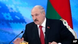 FILE - Belarus's President Alexander Lukashenko speaks during a briefing in Minsk, Belarus, Feb. 3, 2017.