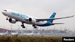 An Airbus A330neo aircraft lands near Toulouse, France, October 19