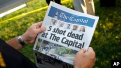 "La Une du journal ""The Capital Gazette"" le 29 juin 2018."