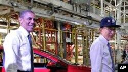 디트로이트의 제너럴 모터스(GM)를 방문한 양국 정상