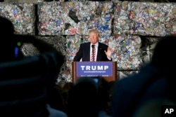 FILE - Republican presidential candidate Donald Trump speaks during a campaign stop at Alumisource, a metals recycling facility in Monessen, Pennsylvania, June 28, 2016.