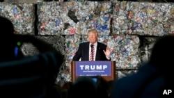 共和党总统候选人川普在宾夕法尼亚州的一个金属循环利用工厂演讲(2016年6月28日)