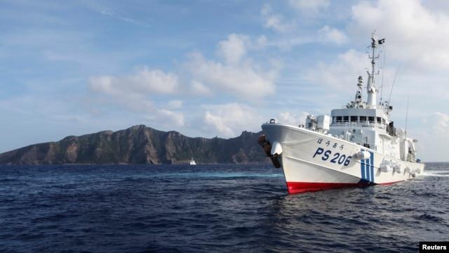 Một tàu tuần duyên của Nhật Bản gần quần đảo tranh chấp với Trung Quốc ở biển Hoa Đông.