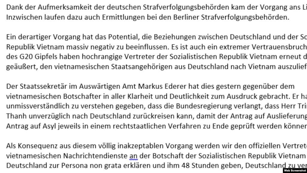 Thông cáo của Bộ Ngoại giao Đức gửi cho VOA