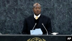Yoweri Kaguta Museveni, president of Uganda, speaks at the United Nations in New York on Sept. 24, 2013.