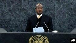 Yoweri Kaguta Museveni, president of Uganda, speaks at the United Nations in New York on Sept. 24, 2013.