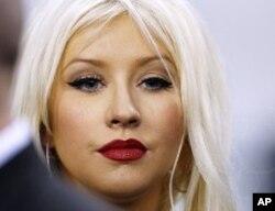 Christina Aguilera before singing the National Anthem at Superbowl XLV, February 6, 2011