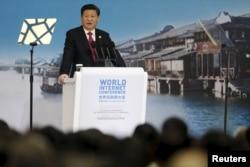 在乌镇举行的世界互联网大会的开幕式上,中国最高领导人习近平讲话(2015年12月16日)