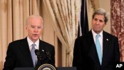 Вице-президент США Джо Байден и Госсекретарь Джон Керри
