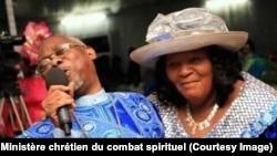 Le couple de prédicateurs Olangi à la tête de l'église Ministère chrétien du combat spirituel, Kinshasa, RDC, sur une photo publiée le 14 octobre 2017. (Facebook/ Ministère chrétien du combat spirituel)