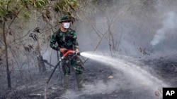 A member of the military works to contain a wildfire on a field in Indralaya, South Sumatra, Indonesia, Sept. 16, 2015.