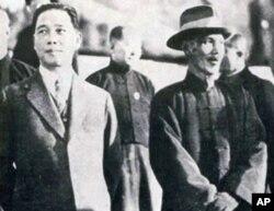 汪精卫(左)与蒋中正