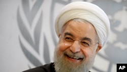 Iranian President Hassan Rouhani at the United Nations General Assembly in New York City, September 26, 2015.
