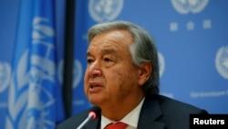 안토니우 구테흐스 유엔 사무총장이 13일 미국 뉴욕 유엔 본부에서 기자회견을 하고 있다.