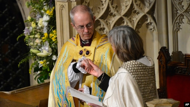 New Archbishop of Canterbury, Justin Welby, attends enthronement ceremony at Canterbury Cathedral, southern England, March 21, 2013.